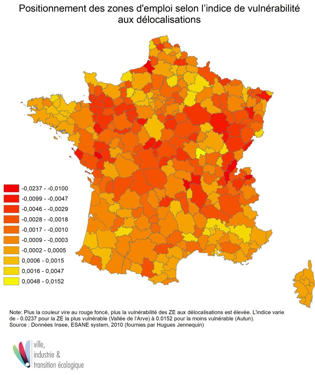 Positionnement des zones d'emploi selon l'indice de vulnérabilité aux délocalisations