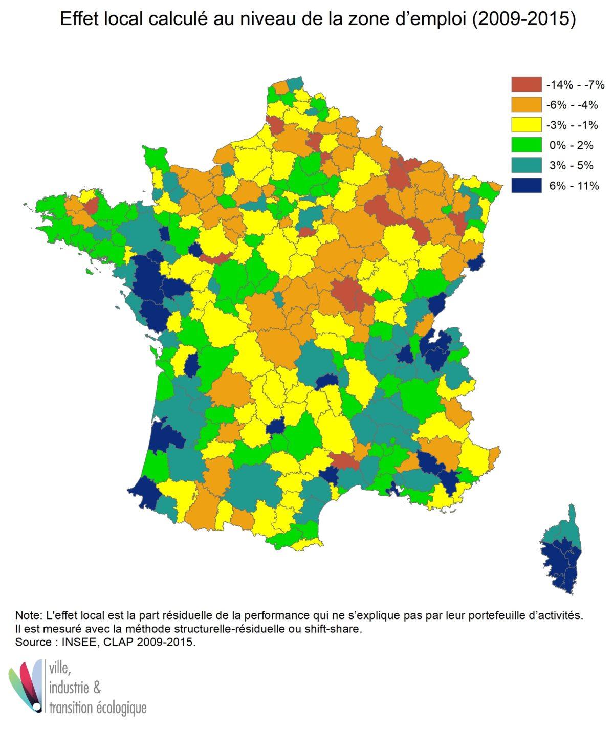 Effet local calculé au niveau de la zone d'emploi (2009-2015)