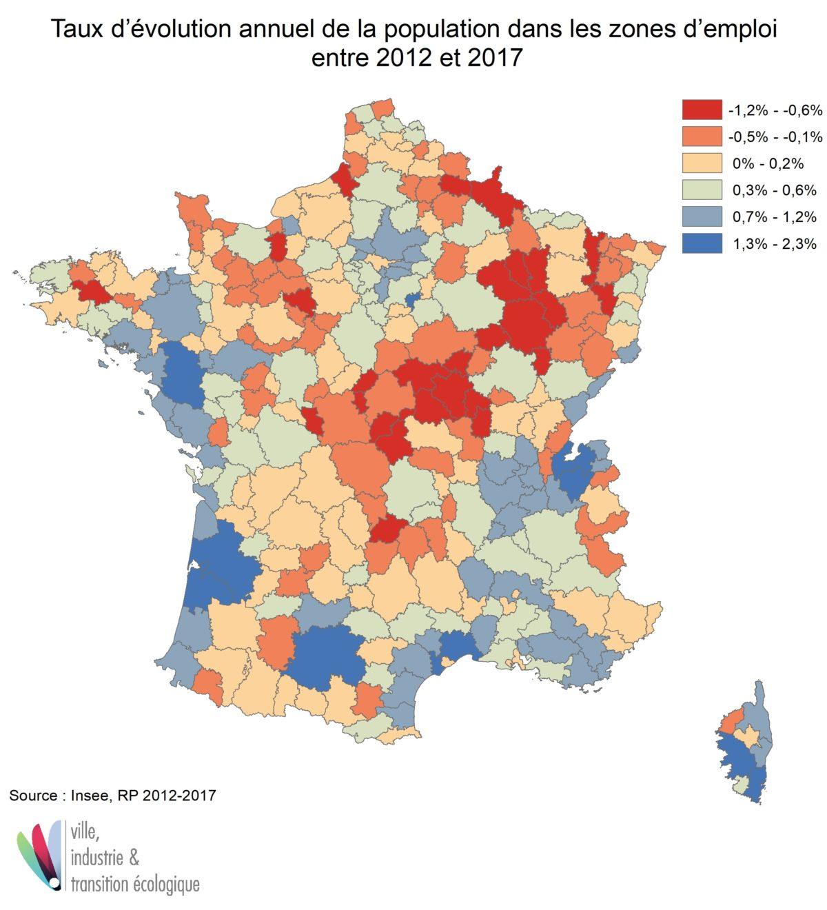 Taux d'évolution annuel de la population dans les zones d'emploi entre 2012-2017