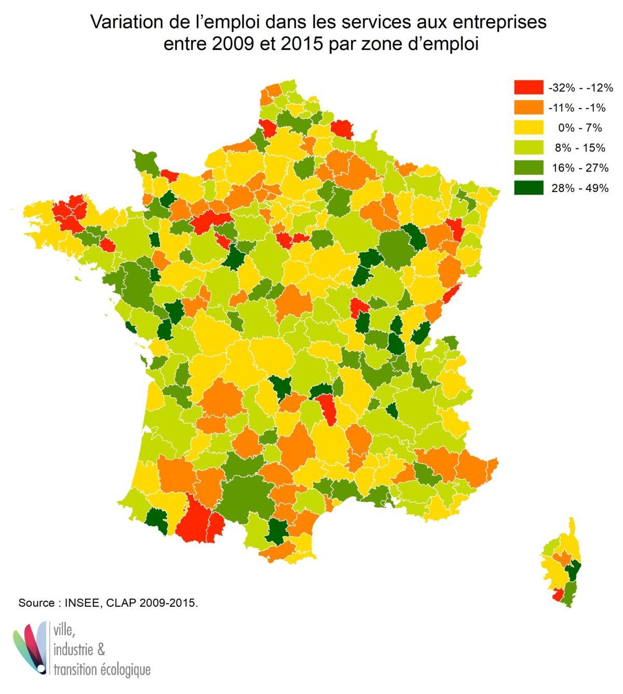 Variation de l'emploi dans les services aux entreprises entre 2009 et 2015 par zone d'emploi