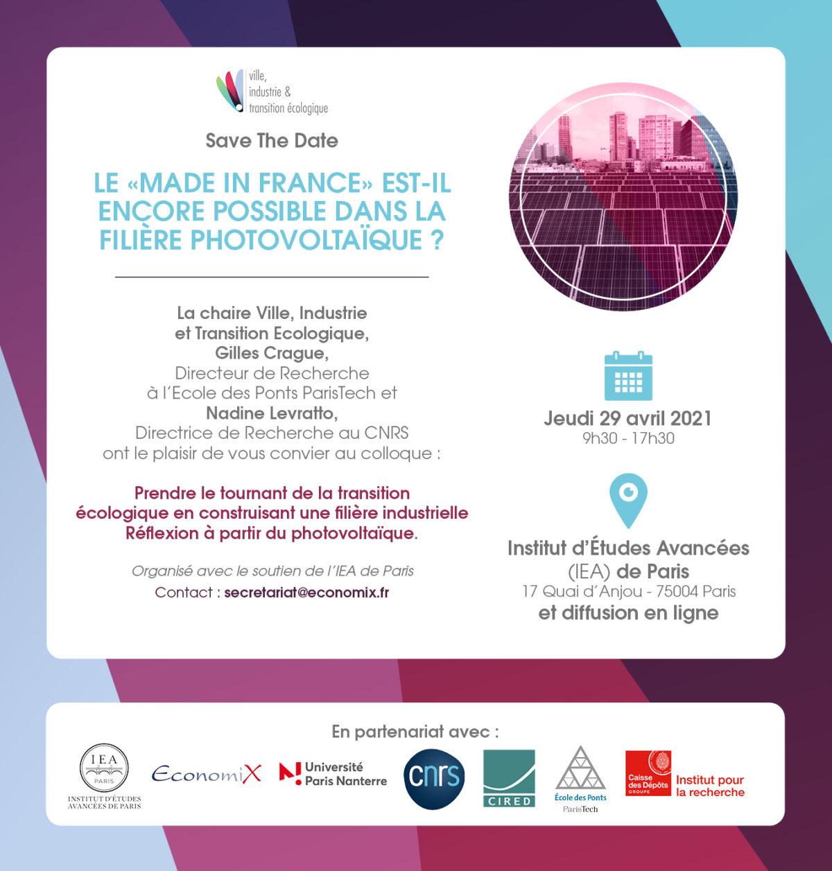 """28 septembre : Colloque de la chaire VITE à l'Institut d'Etudes Avancées de Paris sur le thème """"Prendre le tournant de la transition écologique en construisant une filière industrielle – Réflexion à partir du photovoltaïque"""